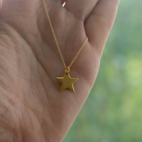 Gold Star Necklace - Back to School Jewelry . 24K Gold-Dipped Star Charm on 14K Gold-Filled Chain . Gift Ideas for Her