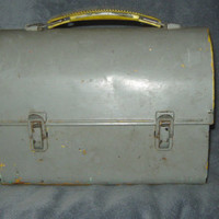 Vintage 40s-50s Tin Industrial Grey Dome Lunch Box