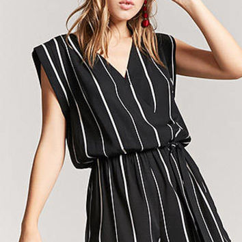 Stripe Surplice Self-Tie Romper