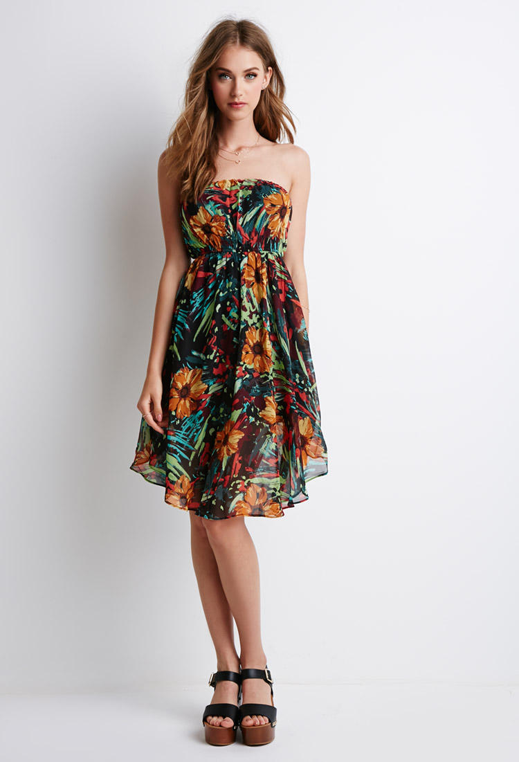 1cf0c6dc3fe Abstract Floral Strapless Dress from Forever 21
