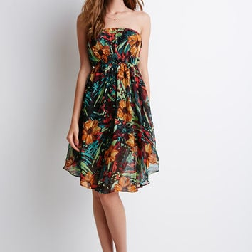 Abstract Floral Strapless Dress