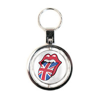 Rolling Stones UK & US Tongues Spinner Key Chain Silver