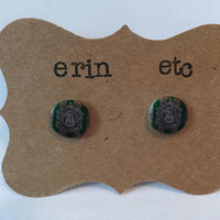 Handmade Plastic Fandom Earrings - House Slytherin