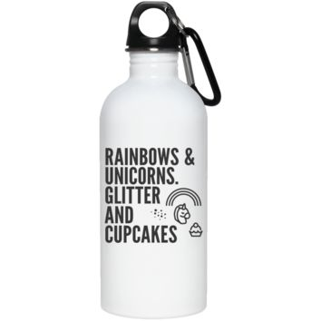 Rainbows & Unicorns, Glitters And Cupcakes Stainless Steel Water Bottle