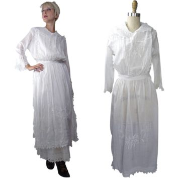 1910s Cotton Lawn Dress Over Dress Tunic with Side Slits