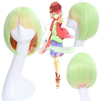 New Arrival no game no life Nogemu Noraifu Tet Short Bob Straight Green Mix Pink Cosplay Anime Wig + Wig Cap