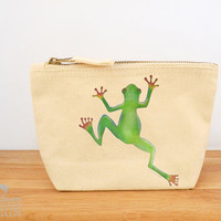 Tree Frog Canvas Zip Purse, Makeup Bag, Coin Purse, Small Accessory Pouch
