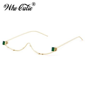 WHO CUTIE 2018 Unique No Lens Half Frame Eyeglasses Frame Women Wire Cat Eye Brand Designer Crystal Rhinestone Decoration OM546