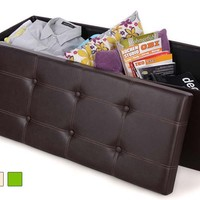 Folding Storage Ottoman Bench, Faux Leather, Brown ULSF703