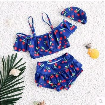 Childrens Swimsuit Cute Children's  Girls Cherry Bebek Bikini Baby Girl Swimwear Little Girls Swim s for Children Kids Swimming Clothes KO_25_2