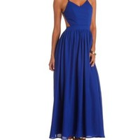 Strappy Backless Chiffon Maxi Dress by Charlotte Russe