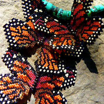 Monarch Migration - Beaded Butterfly Necklace