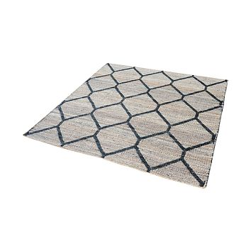 8905-074 Econ Jacquard Weave Jute Rug In Natural And Black - 16-Inch Square