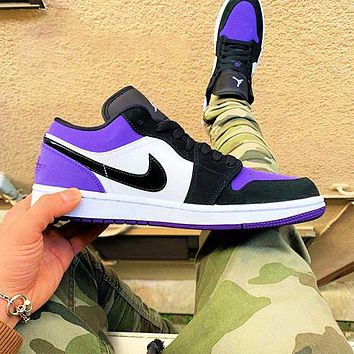 NIKE AJ AIR Jordan1 Low tops sneakers Basketball shoes black purple