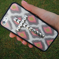 Bohemian Bright studded cross iPhone 4/4S and 5 case with bumper
