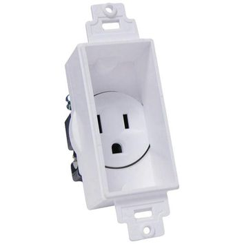 MIDLITE(R) 4641-W Single-Gang Decor Recessed Receptacle