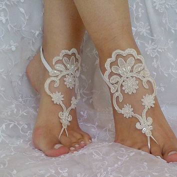 Pale Champagne ivory frame Beach wedding barefoot sandals embroidery beaded wedding beach shoes bridal accessories