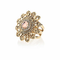 Gold tone antique statement ring - rings - jewelry - women