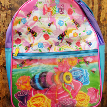 Vintage 1990s Lisa Frank Bee Print PVC Backpack