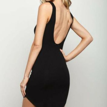 Open Back Ribbed Tank Dress