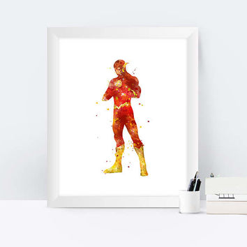 Flash Print The Flash Poster Watercolor Superhero Wall Art Justice League Printables Marvel Nursery Kids Bedroom decor instant download