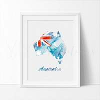 Map of Australia 2 Watercolor Art Print