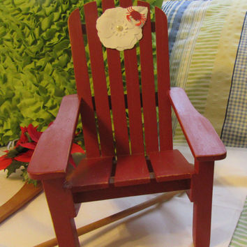 Unique One of A Kind Small Wooden Cottage Chic Adirondack Chair - Paper Flower - Crab on Chair Decoration - Rust Color - Porch Beach Decor