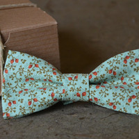 Spring Mint Floral Bow Tie