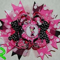 Minnie mouse pink hair bow, polka dot ott bow, disney boutique hair bow for girls