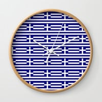 flag of greece 2-Greece,flag of greece,greek,Athens,Thessaloniki,Patras,philosophy,theater,tragedy Wall Clock by oldking