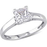 Walmart: Miabella 1 Carat T.G.W. Princess-Cut Created White Sapphire 10kt White Gold Solitaire Engagement Ring