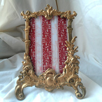 Vintage Picture Frame with Ornate Brass Details and Easel Stand