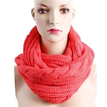 Winter Cable Knitted Infinity Round warm Scarf