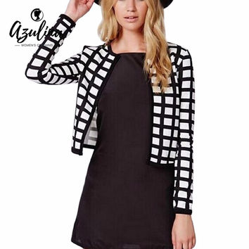 AZULINA Elegant Woman Gingham Jacket Spring Autumn Office Check Plaids Lady Short Coat Thin Work Outerwear Women Jacket Cardigan