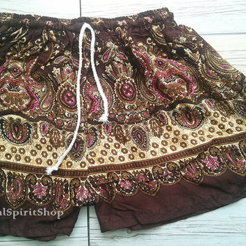 Brown Boho Shorts Paisley Flora Retro Print Ikat Summer Beach Tribal Fashion Clothing Aztec Ethnic Hobo Cloth Cute Wear with Tank top