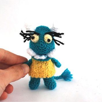 little monster, crochet ugly monster, teal blue monster, miniature monster, small toy for children, kid's monster