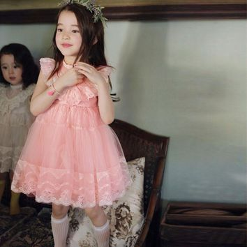 2017 Girls Tutu Lace Dress Pink Ruffles Embroidered Princess Party Dresses Western Holiday Dress