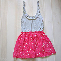Hollister Abercrombie Gray and Pink Polka Dot Scoop Neck Logo Flowy Dress L