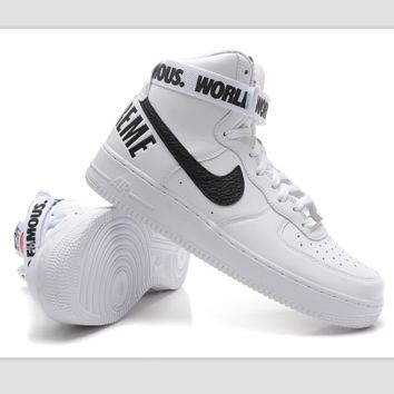 NIKE Women Men Running Sport Casual Shoes Sneakers Air force High tops 94  White black hook a1f12db31