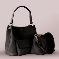 Three-In-One Pebbled Leather Bag