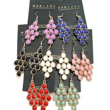 The Colorful Stone Gold Drop Earring