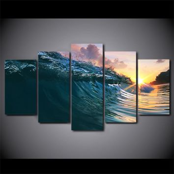 Ocean Surf Wave Surfing at Sunset Canvas Wall Print for Living Room Home Decor
