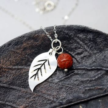 White Shell Leaf Bloodstone Lotus Necklace - White Shell Leaf Natural Red Jasper Sterling Silver Necklace