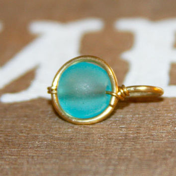 Belly Button Ring, Dainty Aqua Beaded Belly Button Ring, Belly Button Jewelry, 18 16 14  gauge Belly Button Hoop