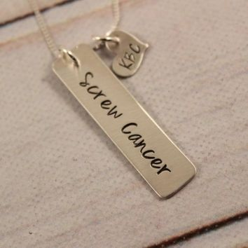 """""""Screw Cancer"""" Sterling Silver Necklace"""
