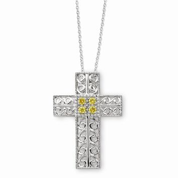 Sterling Silver Nov. CZ Birthstone Message of the Cross 18in Necklace