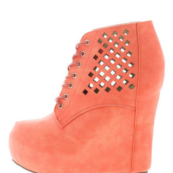 VICKY3 CORAL LASER CUT WEDGE BOOT