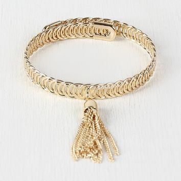 Stacked Ring Closed Bangle Chain Bracelet