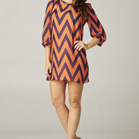 Chevron 3/4 Sleeve Dress - Orange/Navy