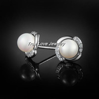 100% real 925 sterling silver pearl stud earrings fashion jewelry wedding gift for women free shipping